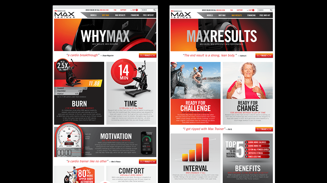 Bowflex Max Trainer Website Pages
